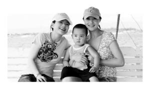 刘蓓和儿子在一起