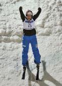 图文:自由式滑雪加拿大站 勒乌庆祝出色表现