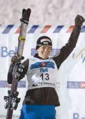 图文:自由式滑雪加拿大站 勒乌庆祝夺金牌