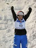 图文:自由式滑雪加拿大站 勒乌开心庆祝