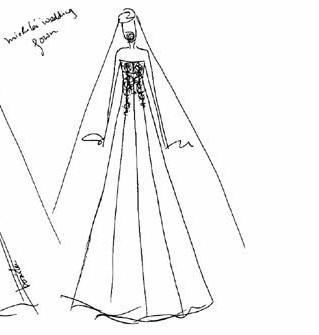 香港设计师张洁雯为李嘉欣设计和制造的婚妙草图