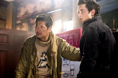 周润发(左)与贾斯汀查温将来台宣传《七龙珠:全新进化》。