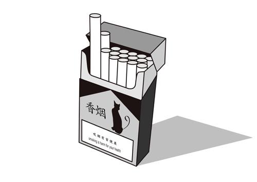 控烟漫画倡导烟盒有健康警语和健康警示图