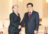胡锦涛会见美国国务卿希拉里