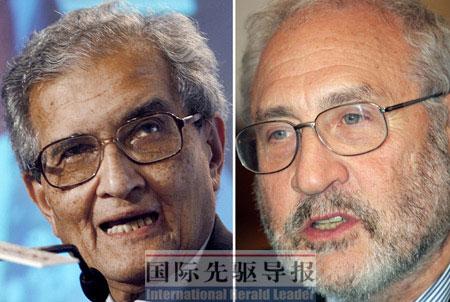 """诺贝尔奖得主约瑟夫·施蒂格利茨(左)和阿马蒂亚·森领导的专家委员会将在今年4月提交一份""""重建GDP""""的方案。 美联社"""