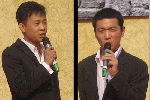 张译与邢佳栋在发布会上发言