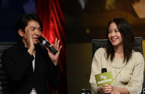 郑伊健与林嘉欣宣传新片