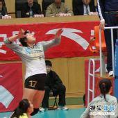 图文:天津女排3-1上海女排 陈伊娜准备扣球