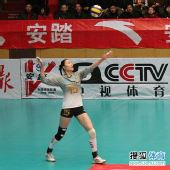 图文:天津女排3-1上海女排 马蕴雯发球