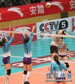 图文:女排联赛天津夺总冠军 马蕴雯发威