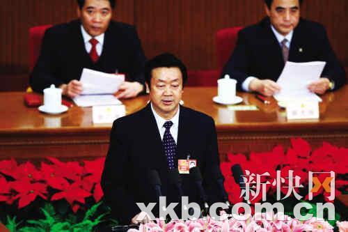 最高人民法院院长王胜俊作最高人民法院工作报告。 新快报记者 夏世焱/摄