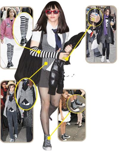 麦当娜最雷人学生装是照搬女儿的衣服