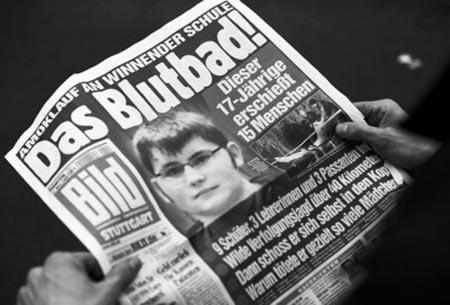 德国报纸刊登17岁枪手蒂姆·克雷奇默的照片