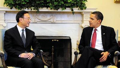 """▲奥巴马会见杨洁篪并不属于通常的外交习惯,但被认为是""""具有象征性的一步"""""""
