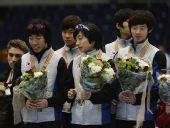 图文:短道速滑团体世锦赛决赛 韩国男队摘金