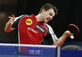 图文:乒乓球德国赛男单半决赛 波尔发力回球