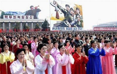 朝鲜人民庆祝卫星发射,朝鲜领导人参加了活动