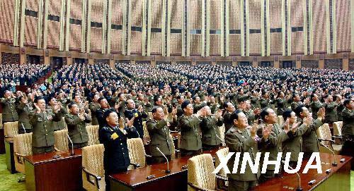 朝鲜中央通讯社4月9日提供的照片显示,朝鲜第12届最高人民会议第一次会议当天在平壤举行。新华社/朝中社