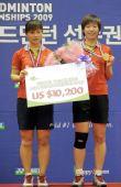 图文:马晋/王小理女双夺冠 两人站上领奖台
