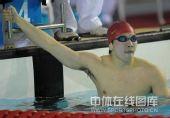 图文:刘维佳获男400混合冠军 刘维佳等待成绩
