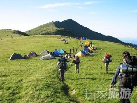 户外爱好者在野外扎营