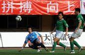 图文:[中超]大连3-1杭州 王圣比赛中传球