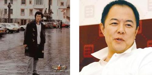 照片左边是张铁林初到英国的青涩写照,右边是成名之后的成熟照片
