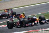 图文:F1西班牙大奖赛正赛 维特尔驶出弯道
