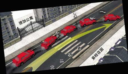 事发现场模拟图。据媒体报道,谭卓被撞飞起5米高20米远,当场身亡。(资料图)
