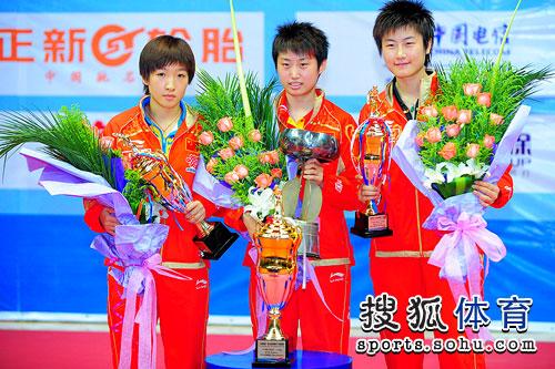 图文:亚洲杯颁奖仪式 郭跃刘诗雯丁宁登领奖台