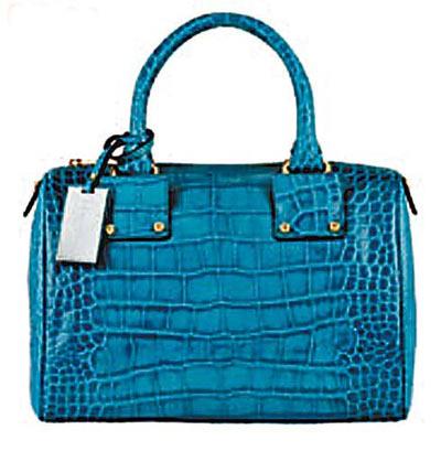 翠蓝色鳄鱼压纹手挽袋 $5,699