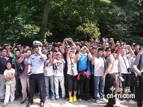游客手上高举着相机或手机,希望能拍到吴伯雄的镜头。