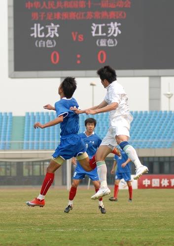 图文:[全运男足]江苏0-0北京 二龙戏珠