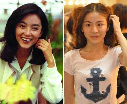 贡米与林青霞年轻时对比照
