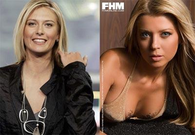 莎拉波娃与好莱坞女性泰拉・瑞德面貌棱角相似。