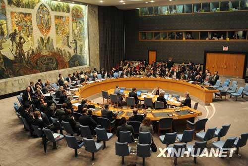 这是6月12日拍摄的联合国安理会大会现场。联合国安理会12日通过决议,对朝鲜5月25日进行的核试验表示严厉谴责,并要求朝鲜今后不再进行核试验或使用弹道导弹技术进行任何发射行动。 新华社记者申宏摄