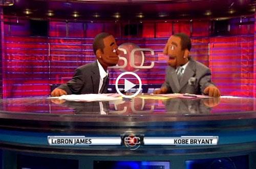 科比和詹姆斯在体育中心动画版