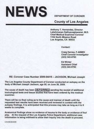 迈克尔-杰克逊初步尸检报告发布