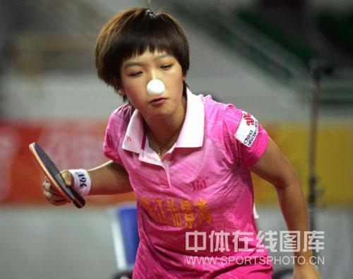 图文:[乒超]山西3-0横扫广东刘诗雯变对付眼打乒乓球怎么斗鸡高手图片