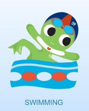 卡通小青蛙游泳