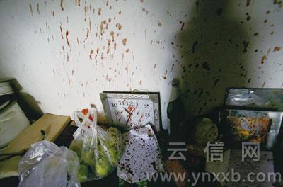 墨江杀人案中,熊文祥一家三口被害现场残留的血迹让人触目惊心。记者 罗立高 摄