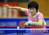 图文:乒超北京3-2险胜鲁能 丁宁网前搓球