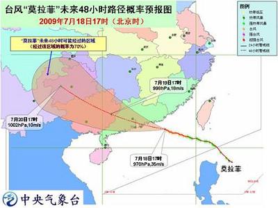 """台风""""莫拉菲""""未来48小时路径概率预报(2009年7月18日17时~20日17时)"""