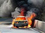 触目惊心的汽车自燃现场