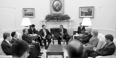 奥巴马在白宫会见中方代表团