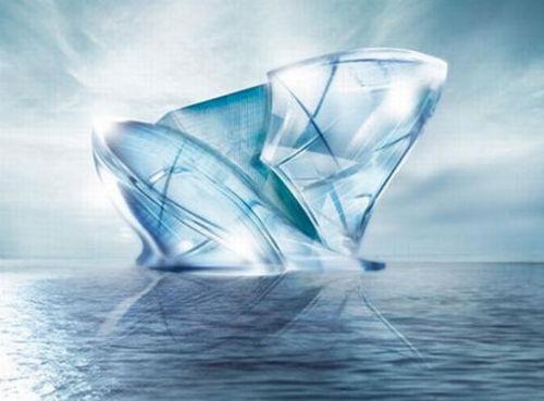 白天看上去像晶莹剔透的蓝色水晶