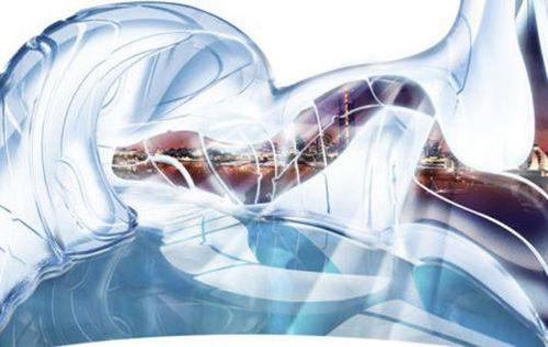 蓝色水晶漂浮在水中