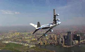"""2009年4月27日,用于总统专机的波音747飞机(""""空军一号"""")参与政府授权的秘密拍照任务时低飞掠过纽约上空。"""