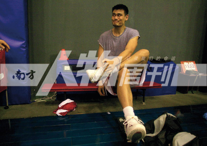 2007年7月18日,姚明参加中国男子篮球队北京训练课(李木易)