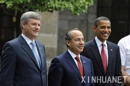 (北美峰会)的加拿大总理哈珀、墨西哥总统卡尔德龙和美国总统奥